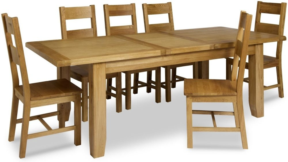 Manor Oak Dining Set - Large Extending With 6 Wooden Seat Chairs