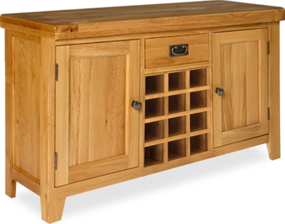 Manor Oak 2 Door 1 Drawer Wide Sideboard with Wine Holders