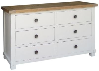 Melton Reclaimed Pine Wide Chest of Drawer - 6 Drawer