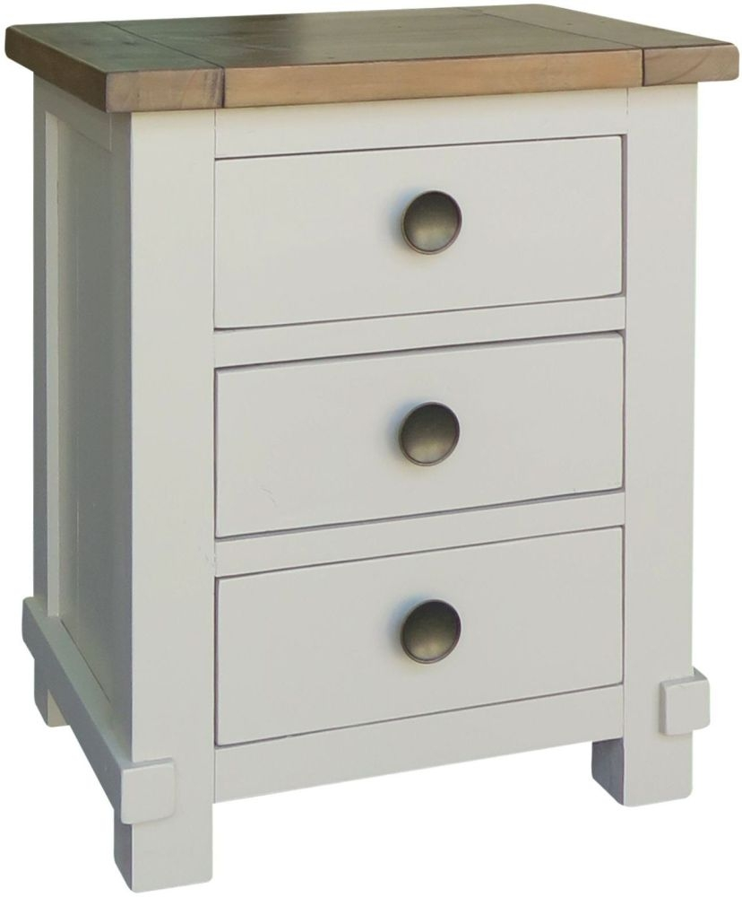 Melton Reclaimed Pine Bedside Cabinet - 3 Drawer