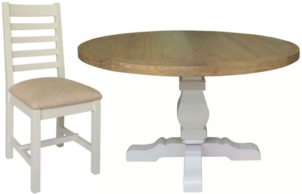 Melton Reclaimed Pine Dining Set - Round Pedestal with 6 Fabric Seat Dining Chairs