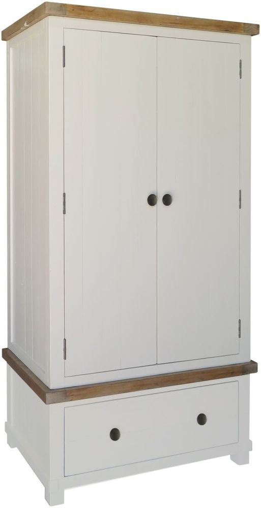 Melton Reclaimed Pine 2 Door 1 Drawer Double Wardrobe