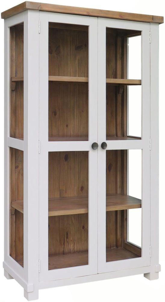Melton Reclaimed Pine 2 Door Large Glazed Display Cabinet