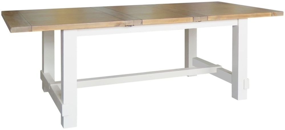 Melton Large Extending Dining Table - Reclaimed Pine and White Painted