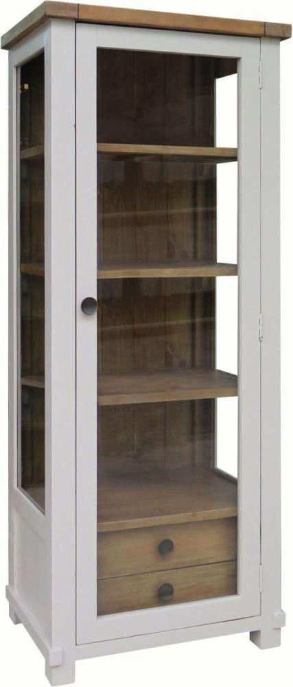 Melton Reclaimed Pine 1 Door 2 Drawer Narrow Glazed Display Cabinet