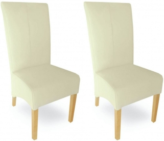 Milano Oak Dining Chair - Cream Leather (Pair)