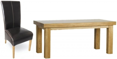 Milano Oak Dining Set - 1.8M Thick Top with 6 Brown Leather Chairs