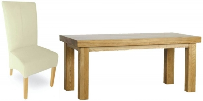 Milano Oak Dining Set - 1.8M Thick Top with 6 Cream Leather Chairs