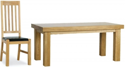 Milano Oak Dining Set - 1.8M Thick Top with 6 Leather Seated Chairs