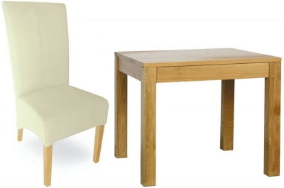 Milano Oak Dining Set - 90cm Square with 4 Cream Leather Chairs
