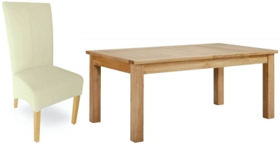 Milano Oak Dining Set - Extending with 6 Cream Leather Chairs
