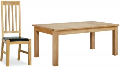 Milano Oak Dining Set - Extending with 6 Leather Seated Chairs