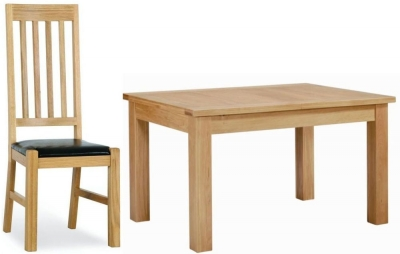Milano Oak Dining Set - Small Extending with 4 Leather Seated Chairs