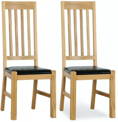 Milano Oak Leather Seated Dining Chair (Pair)