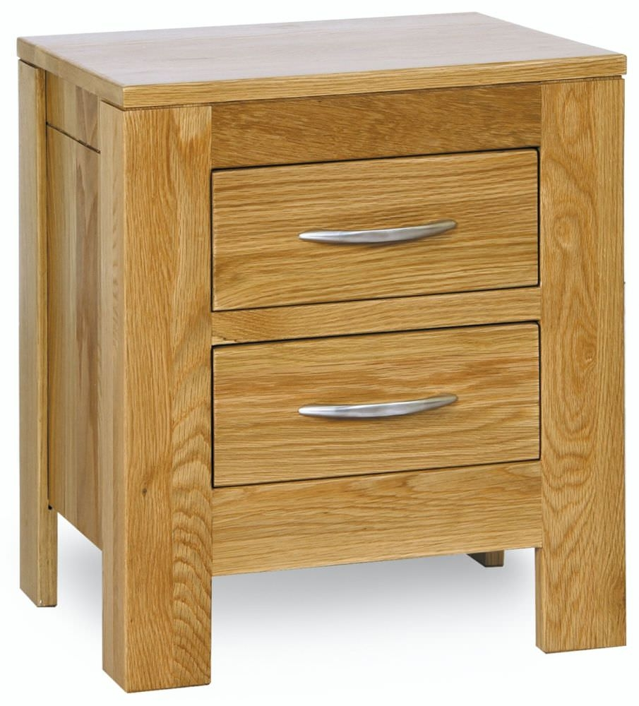 Milano Oak Bedside Cabinet - 2 Drawer