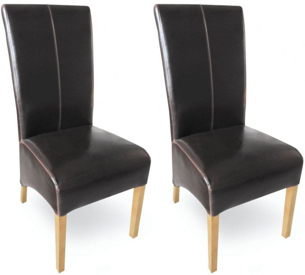 Milano Oak Dining Chair - Brown Leather (Pair)