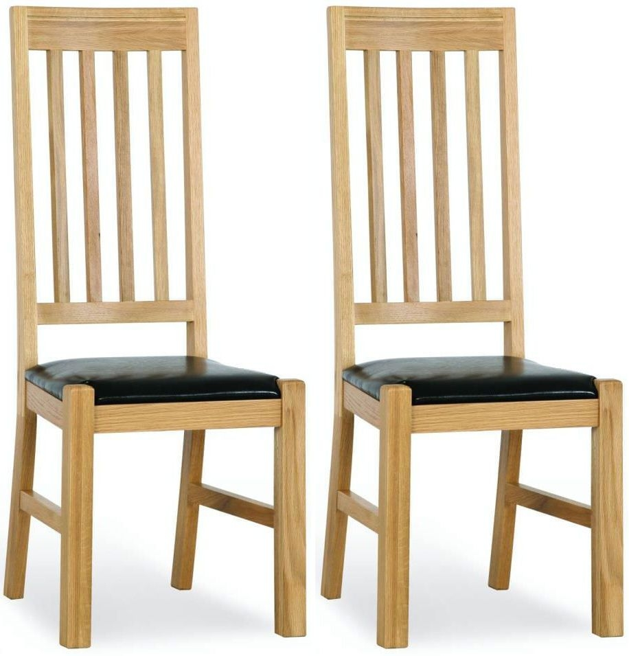 Milano Oak Dining Chair - Leather Seated (Pair)