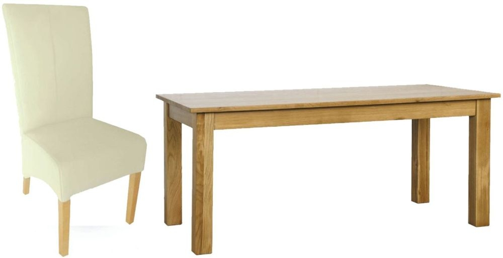 Milano Oak Dining Set - 1.5M with 6 Cream Leather Chairs