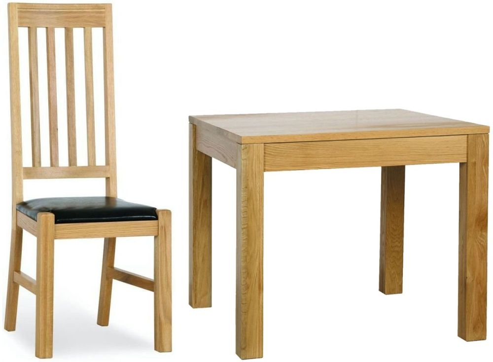 Milano Oak Dining Set - 90cm Square with 4 Leather Seated Chairs