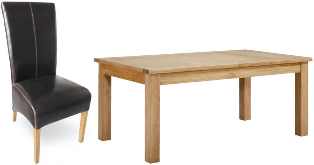 Milano Oak Dining Set - Extending with 6 Brown Leather Chairs