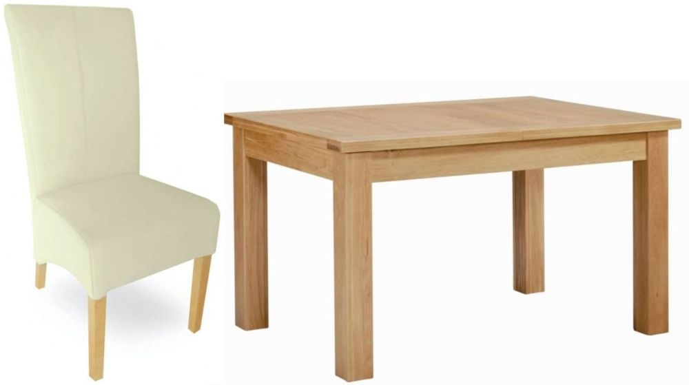 Milano Oak Dining Set - Small Extending with 4 Cream Leather Chairs