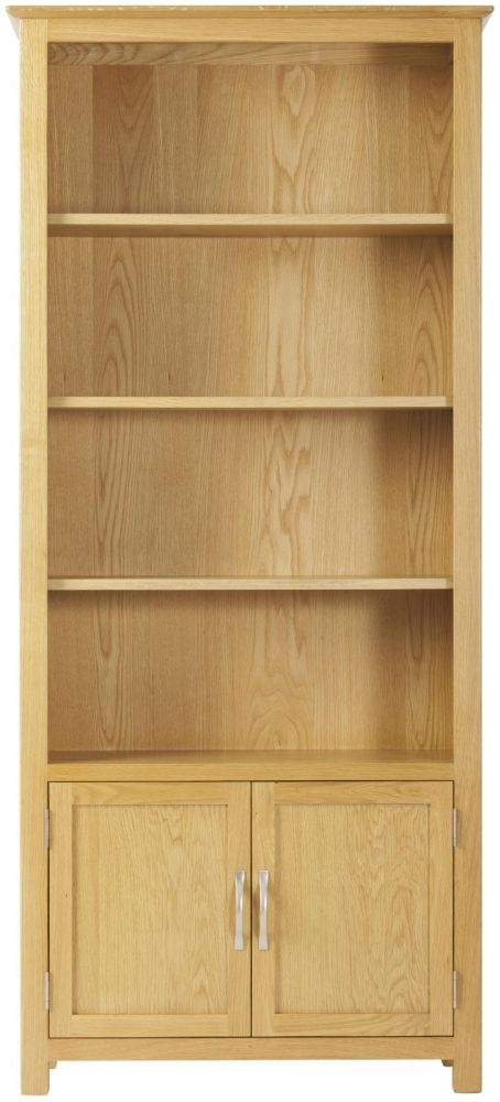 Nordic Oak 2 Door Bookcase with Cupboard