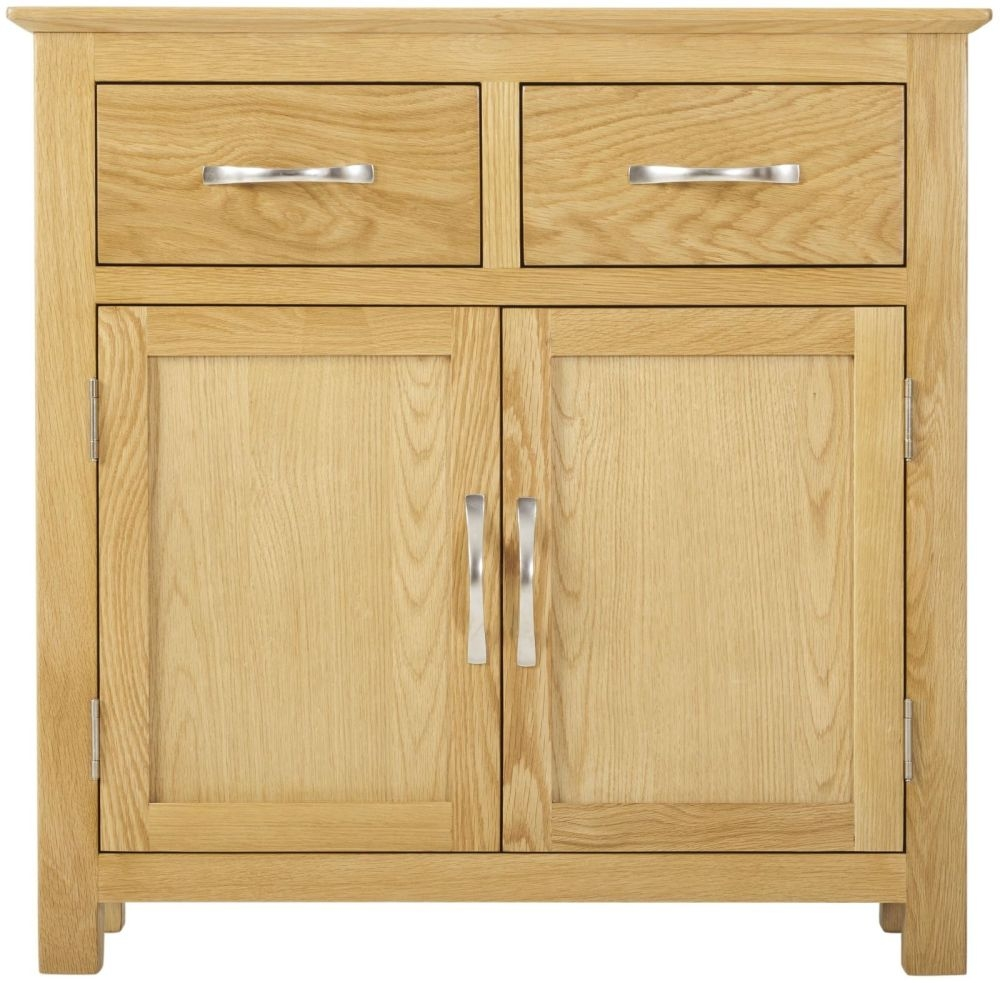 Nordic Oak Sideboard - Mini Narrow 2 Door 2 Drawer