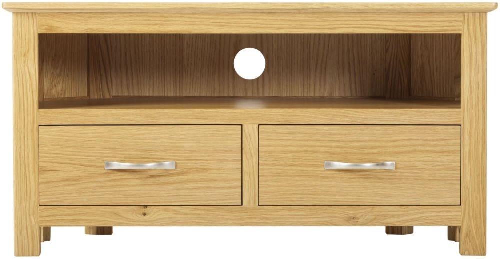 Nordic Oak TV Cabinet - 2 Drawer Corner