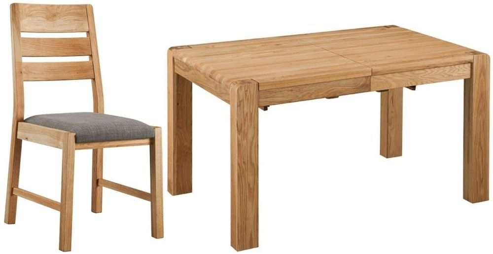 Oslo Oak Rectangular Extending Dining Set with 4 Chairs - 140cm-180cm