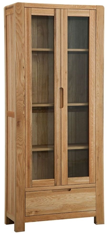 Oslo Oak 2 Door 1 Drawer Large Display Cabinet