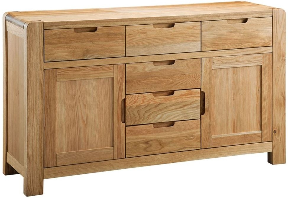 Oslo Oak Sideboard - 2 Door 6 Drawer Medium