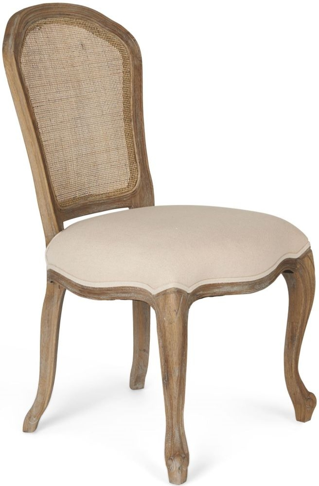 Paris Limed Oak Chair with Rattan Back
