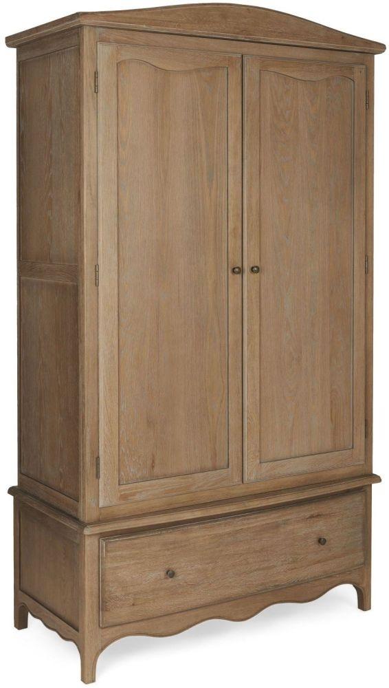 Paris Limed Oak 2 Door 1 Drawer Gents Wardrobe