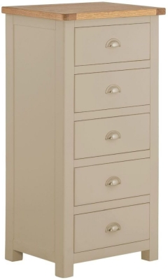 Portland Pebble Painted 5 Drawer Wellington Chest
