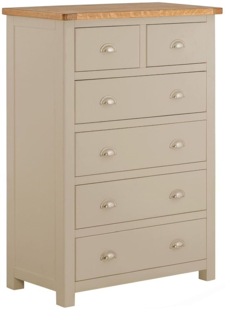 Portland Oak and Pebble Painted 2+4 Drawer Chest