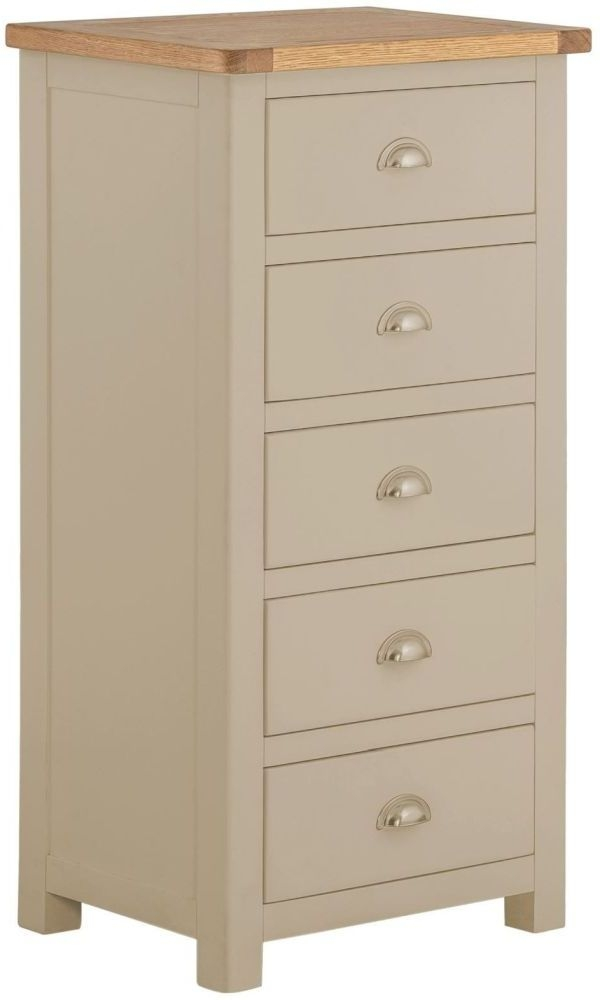 Portland 5 Drawer Wellington Chest - Oak and Pebble Painted