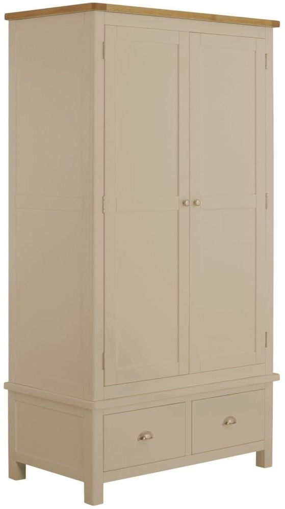 Portland 2 Door 2 Drawer Wardrobe - Oak and Pebble Painted