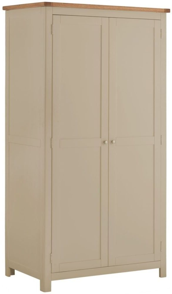 Portland 2 Door Wardrobe - Oak and Pebble Painted