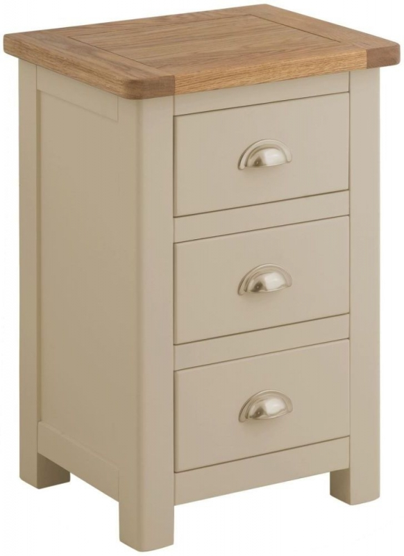 Portland Pebble Painted 3 Drawer Bedside Cabinet