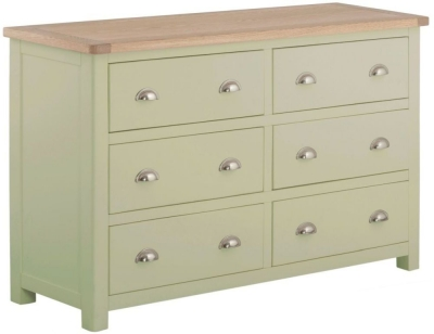 Portland Oak and Sage Painted 6 Drawer Chest
