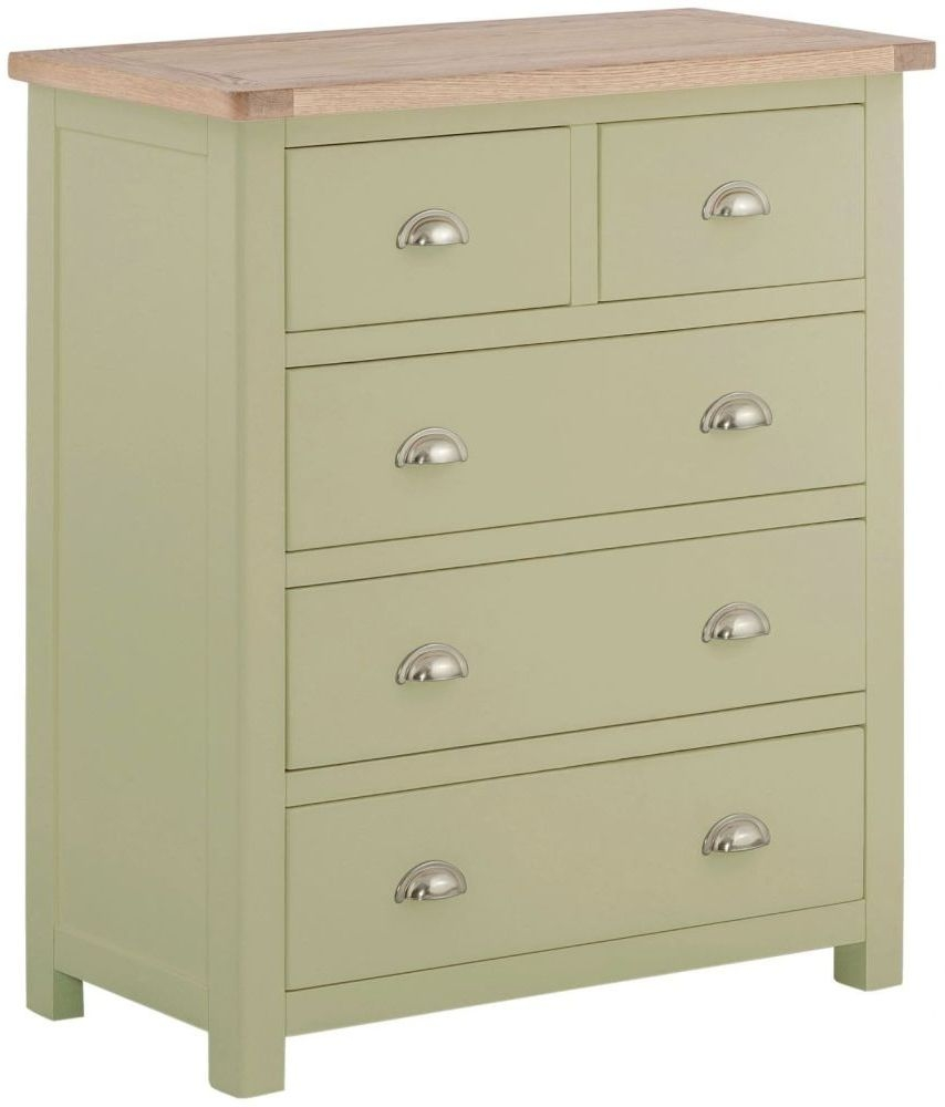 Portland 2+3 Drawer Chest - Oak and Sage Painted