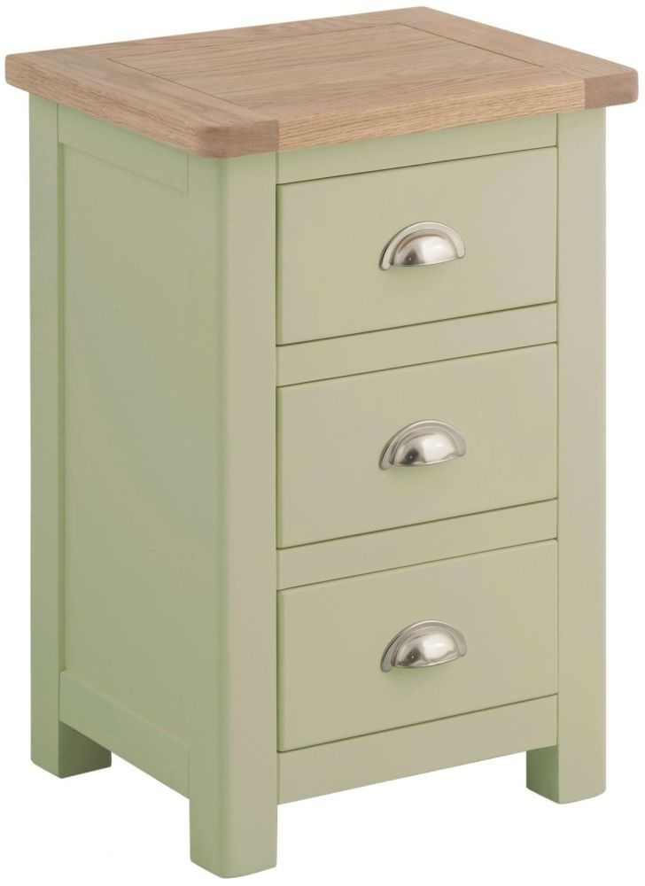 Portland Bedside Cabinet - Oak and Sage Painted