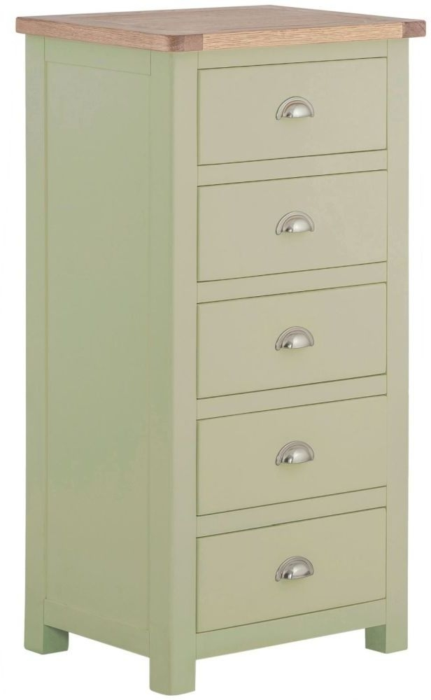 Portland Oak and Sage Painted 5 Drawer Wellington Chest