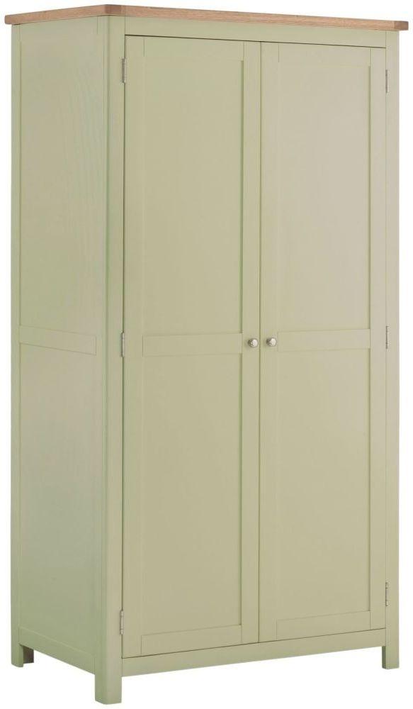 Portland 2 Door Double Wardrobe - Oak and Sage Painted