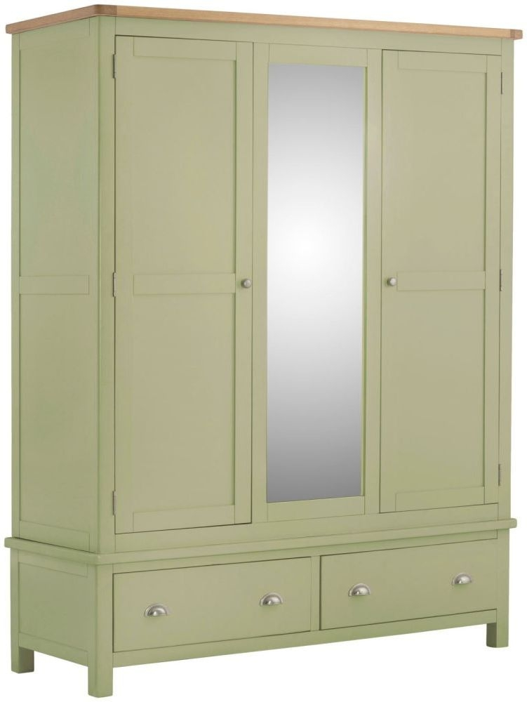 Portland Sage Panited 3 Door 2 Drawer Combi Wardrobe