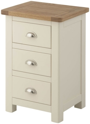 Portland Cream Painted 3 Drawer Bedside Cabinet
