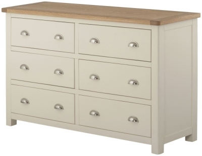 Portland Oak and Cream Painted 6 Drawer Chest