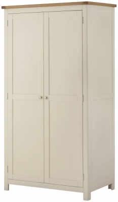Portland Oak and Cream Painted 2 Door Wardrobe