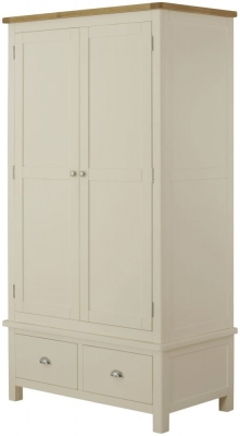 Portland Oak and Cream Painted 2 Door 2 Drawer Wardrobe