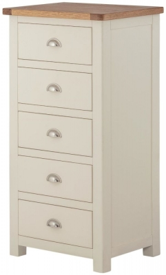 Portland Cream Painted 5 Drawer Wellington Chest